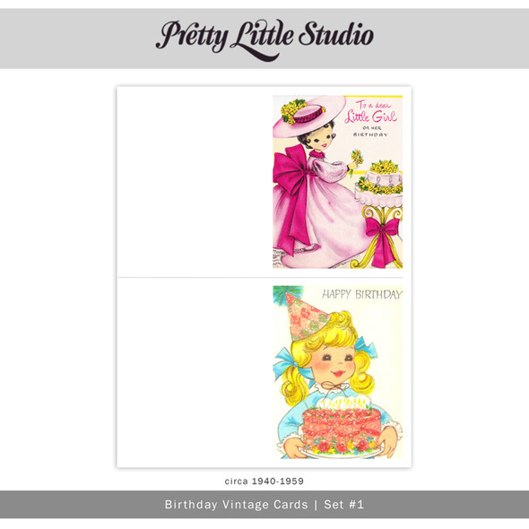 Printable | Birthday #1 Vtg Cards