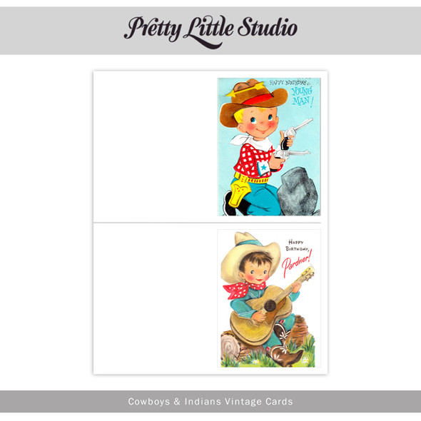 Printable | Cowboys & Indians Vtg Cards