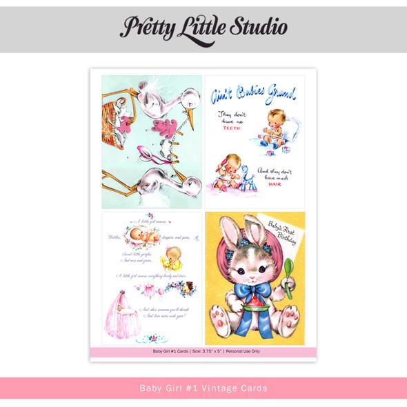 Printable | Baby Girl #1 Vtg Cards