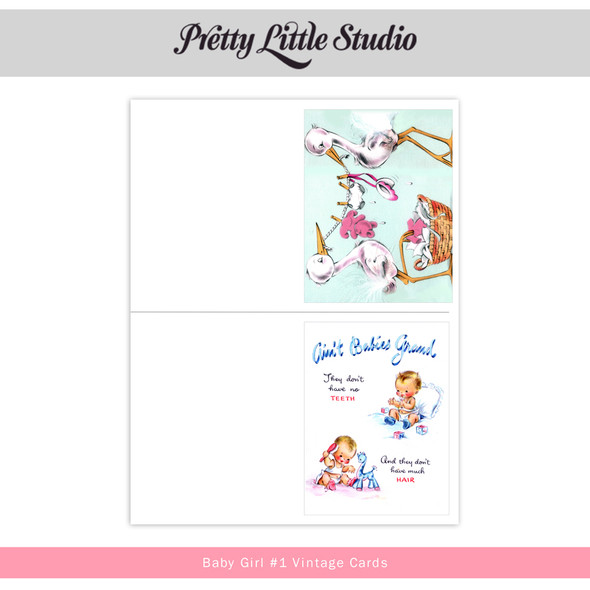 Printable | Baby Girl #1 Vtg Cards