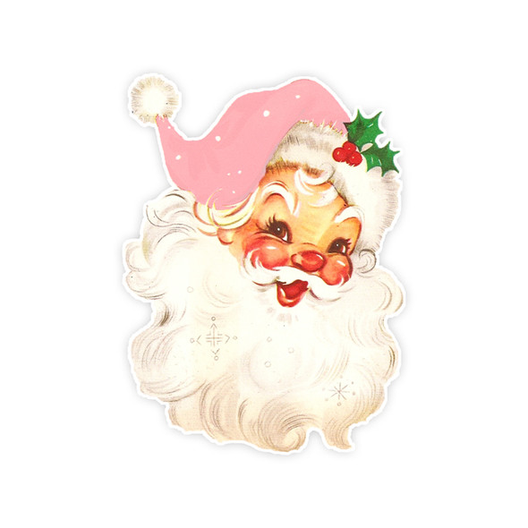 Vintage Die-Cut | Santa #23 | Pink