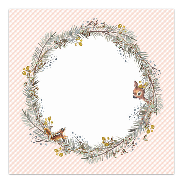 Paper | Winter Cottage | Peach 12x12 (single-sided)