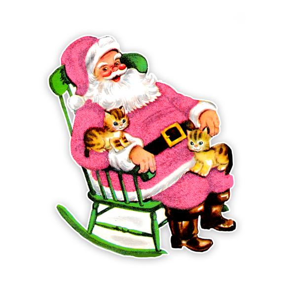 Vintage Die-Cut | Santa 33 | Pink | 6 inch