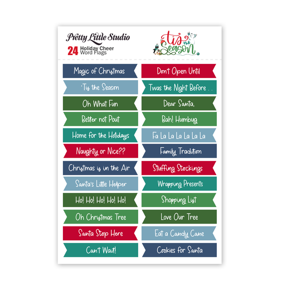 Pre-Order | Cut-Aparts | Holiday Cheer Word Flags