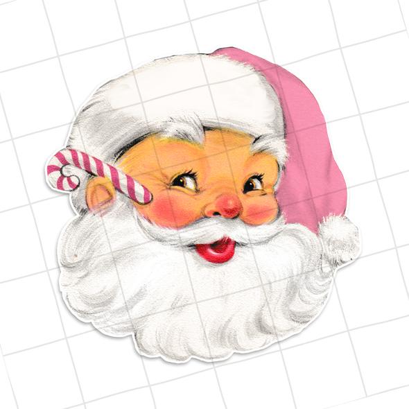 """Vintage Die-Cuts   Santa #35   3 1/2"""" Pink"""