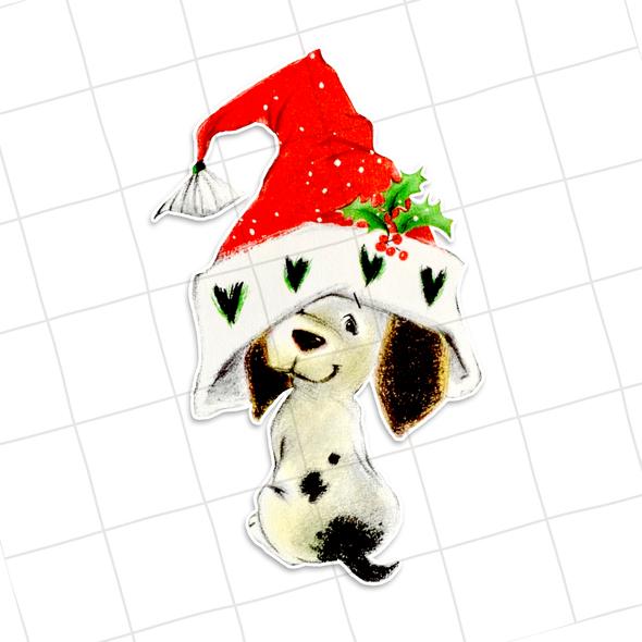 Vintage Die-Cut   Holiday Dog