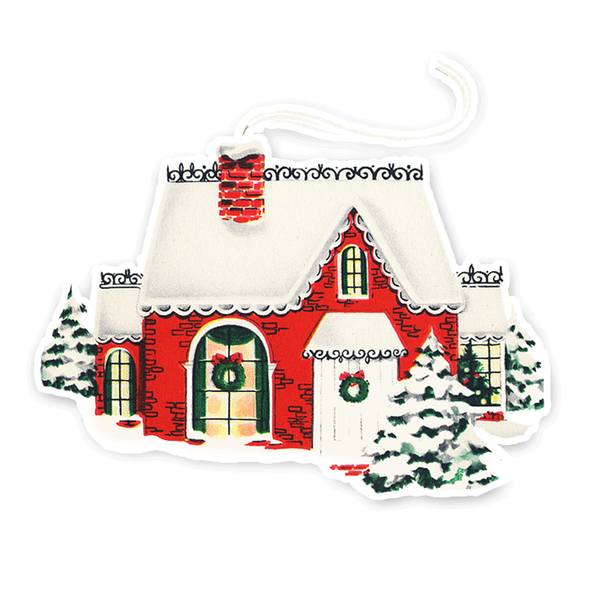Vintage Die-Cut | Red Christmas Home