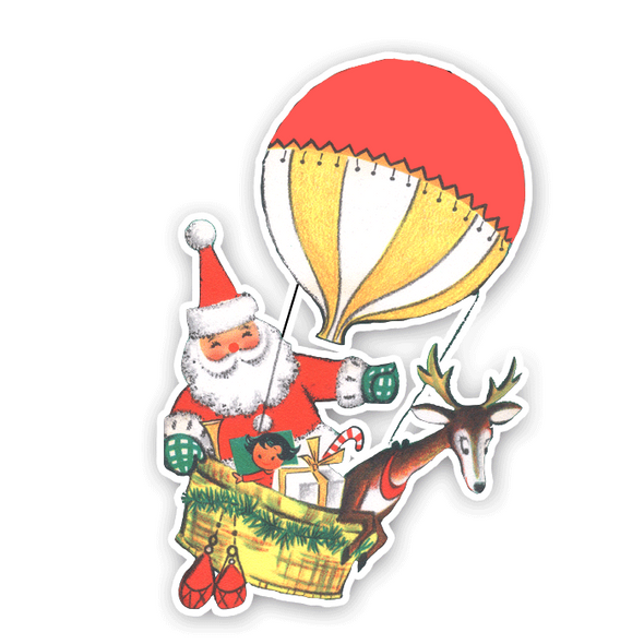 Vintage Die-Cut | Santa Hot Air Balloon