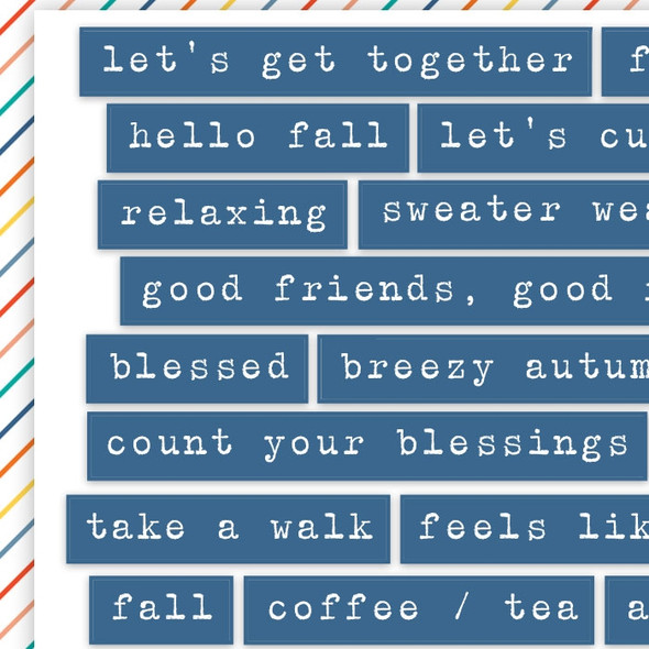 Stickers | Fall Words | Blue