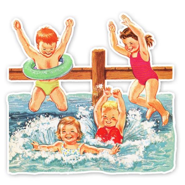 Vintage Die-Cut | Swimming