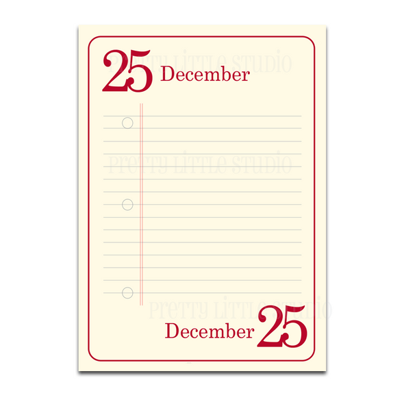 December 1-25 Lined Journaling Cards