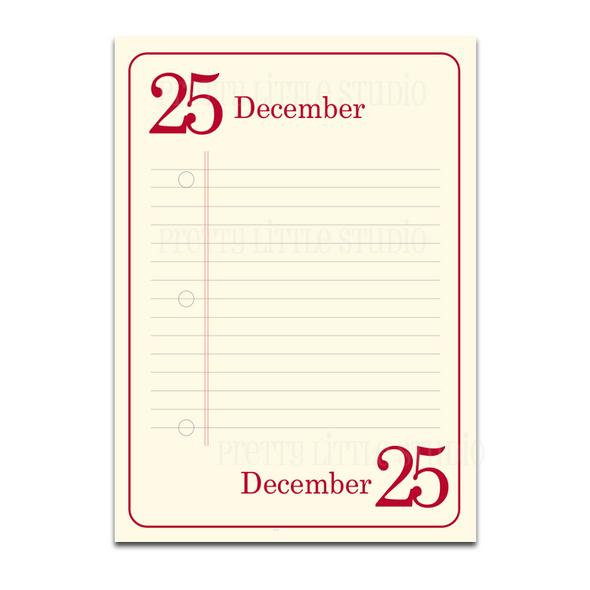 December 1-25 Lined Journaling Cards