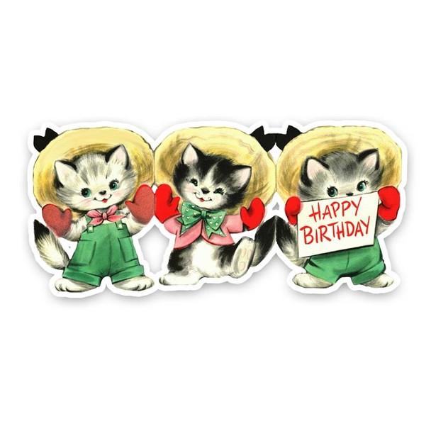 "Vintage Die-cut | 3 Little Kittens Birthday | 8"""