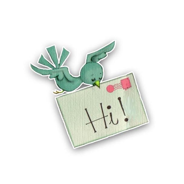 Vintage Die-cut | Hi! Birdie