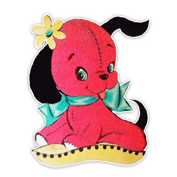 Vintage Die-cut | Cherry Puppy