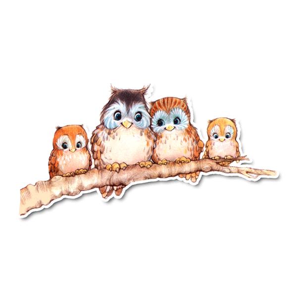 Vintage Die-cut   Owl Family