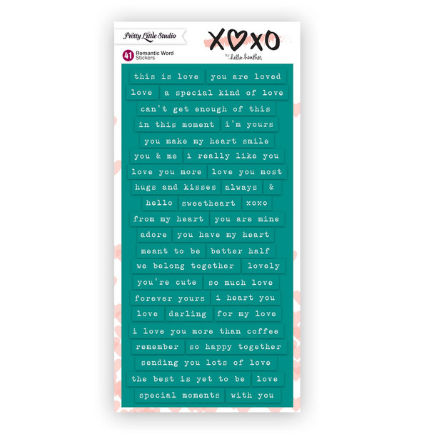 Stickers | Romantic Words | Teal