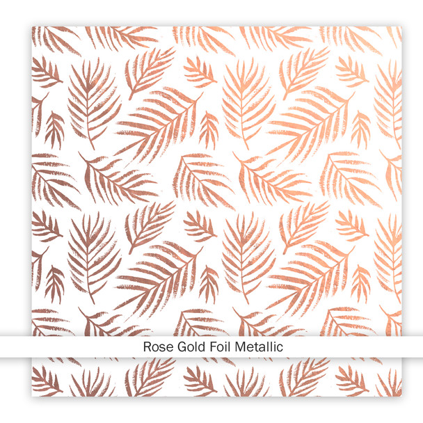 Metallic Clear | Beach Palms | Rose Gold 8x8