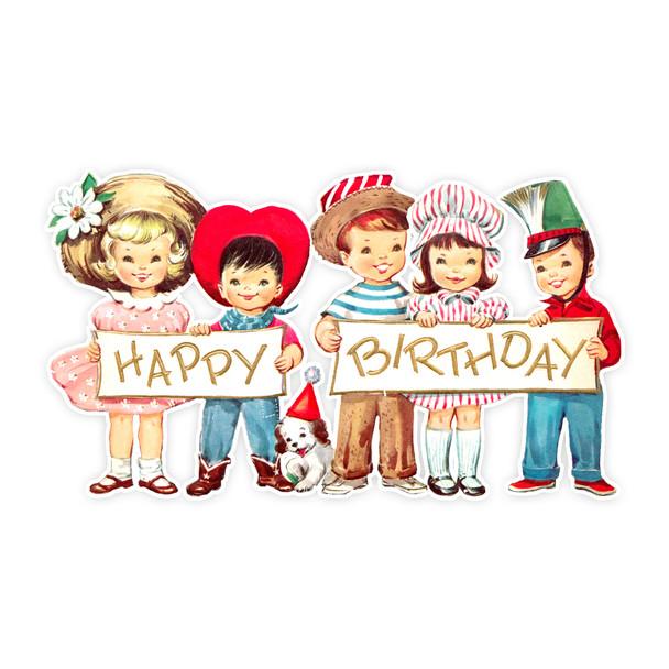 """Vintage Die-Cut   Happy Birthday   7"""""""