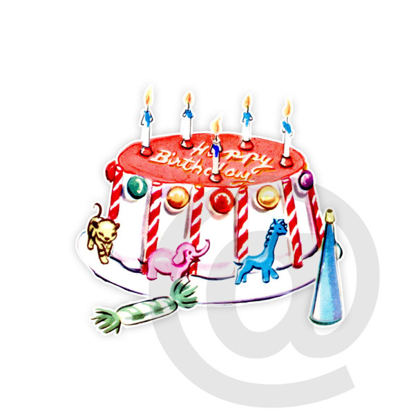 Vintage Die-Cut   Happy Birthday Cake