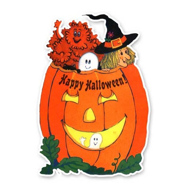 Vintage Diecut   Halloween Pumpkin