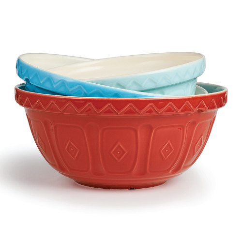 """Product Photo 2 Red Colored Mason Cash Mixing Bowl - 11.5"""""""