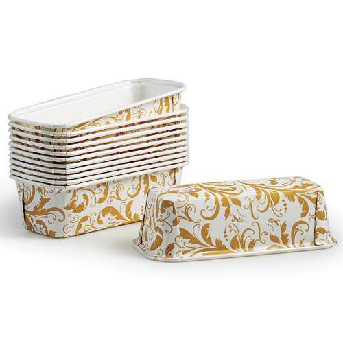 Product Photo 1 Gold Filigree Bakeable Paper Loaf Pans - Set of 12