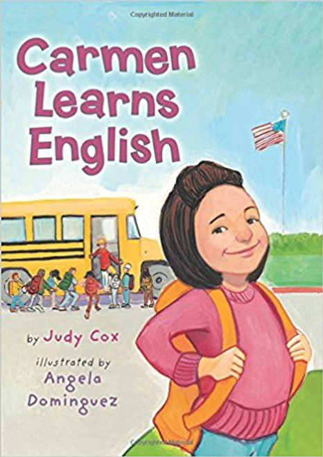 The first day of school can be scary, especially when no one else speaks the same language. With a little encouragement from la Seora, Carmen teaches the class Spanish words and numbers, and she in turn learns English from her new friends.