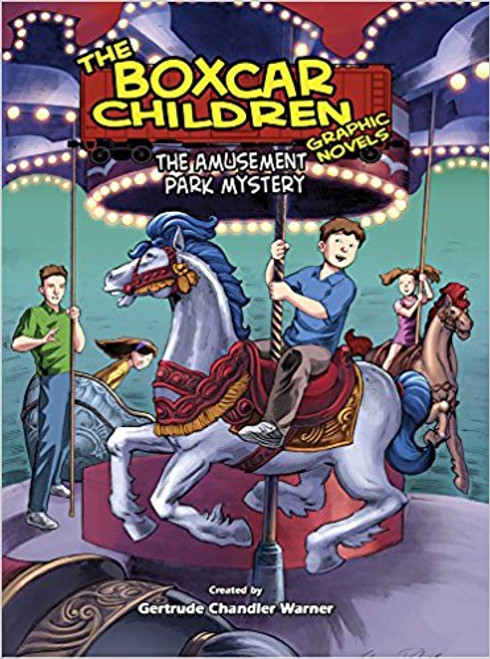 When the Aldens visit relatives who live near an amusement park, they discover that someone is tampering with the antique merry-go-round and must find out who is responsible.