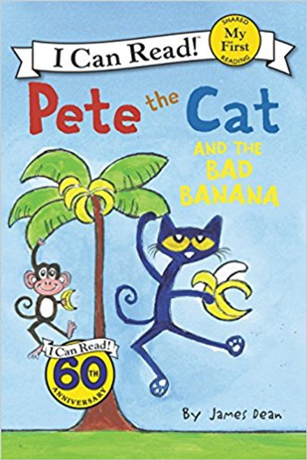 Pete the Cat bites into a bad banana and vows never to eat bananas again, even though he generally likes the fruit.