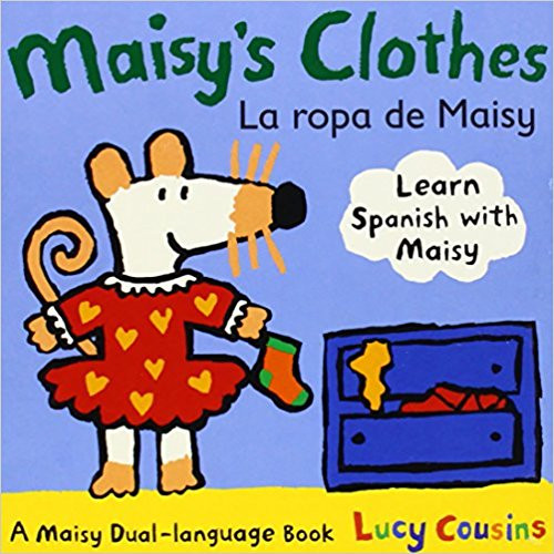 Introduces Spanish and English vocabulary words for the clothes in Maisy the mouse's wardrobe.