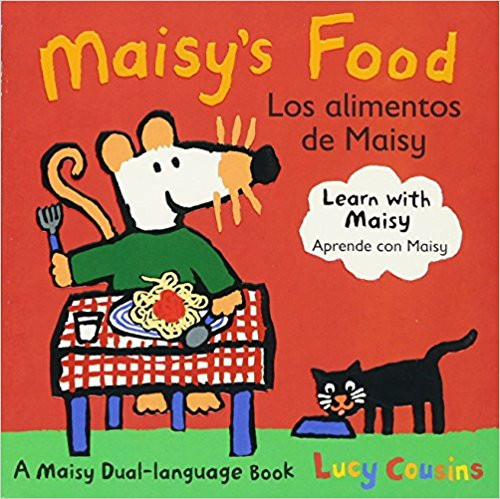 Introduces Spanish and English vocabulary words for the Maisy the mouse's favorite foods.