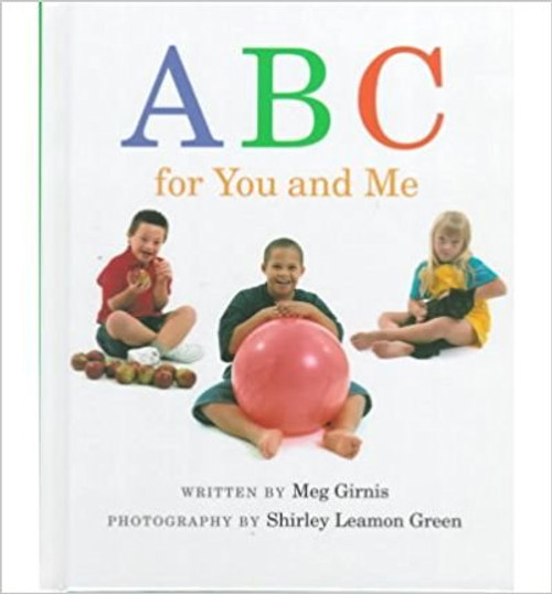 Photographs show children with Down syndrome in activities with objects corresponding to the letters of the alphabet.