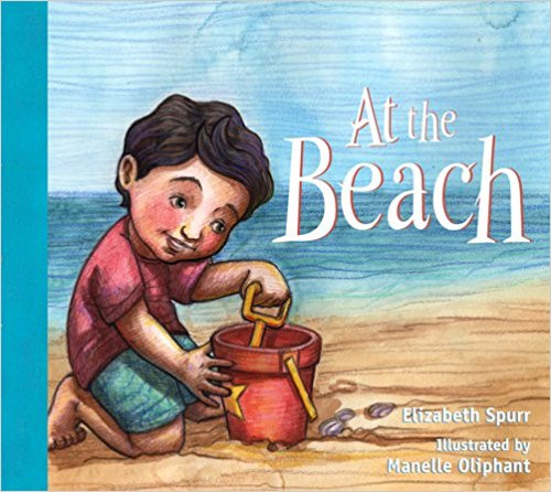 During a day at the beach, a young boy digs in the sand and makes a sand birthday cake, then loses it to the waves.  His mother distracts him with a picnic and he falls asleep at the end of a full and happy day.  Full color.
