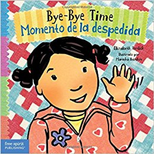 Bilingual English-Spanish book for children about getting dropped off at childcare or being cared for by a baby-sitter. It teaches transition rituals and self-soothing techniques to help children avoid and manage separation anxiety when saying good-bye. Includes tips for parents and caregivers