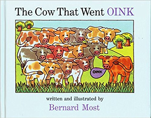 A cow that oinks and a pig that moos are ridiculed by the other barnyard animals until each teaches the other a new sound.