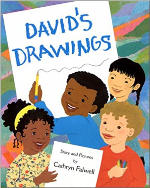 A shy young African American boy makes friends in school by letting his classmates help with his drawing of a bare winter tree.