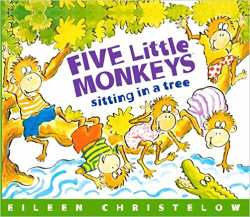 Five little monkeys sitting in a tree discover, one by one, that it is unwise to tease Mr. Crocodile.