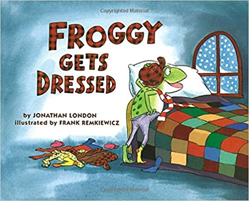 Rambunctious Froggy hops out into the snow for a winter frolic, but is called back by his mother to put on some necessary articles of clothing.