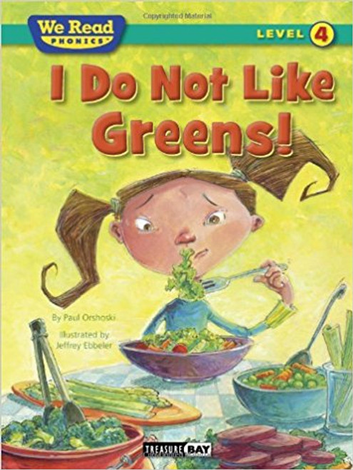 Develops reading skills through games and a fictional story about a girl who is tired of eating greens and other healthy foods.
