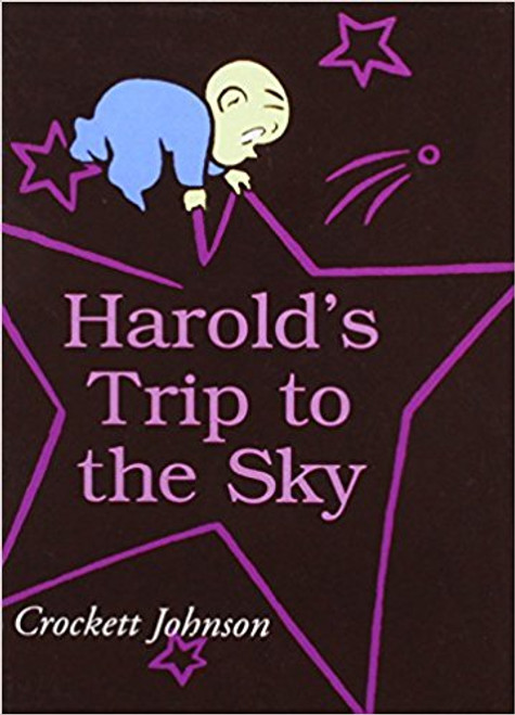 Harold travels to the sky with the help of his purple crayon.