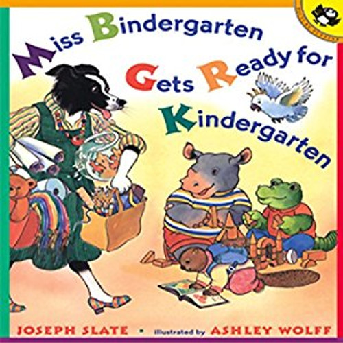 It's the first day of kindergarten and Miss Bindergarten is hard at work getting the classroom ready for her twenty-six new students.  Meanwhile, Adam Krupp wakes up, Brenda Heath brushes her teeth, and Christopher Beaker finds his sneaker.  Miss Bindergarten puts the finishing touches on the room just in time and the students arrive.  Now, the fun can begin!  This rhyming, brightly illustrated book is the perfect way to practice the alphabet and to introduce young children to kindergarten.