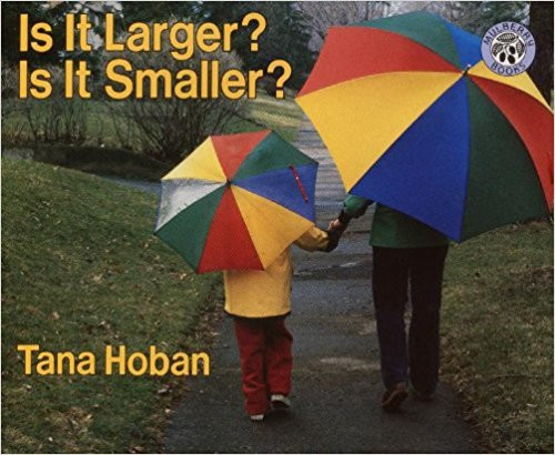 Photographs of animals and objects in larger and smaller sizes suggest comparisons between the two.