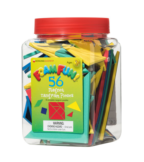 "Explore, compare, and compose shapes with these ancient puzzles. Soft, colorful foam is durable and easy to grasp. Includes 56 magnetic pieces (8 sets of tangrams in 4 colors) and an activity booklet stored in a handy bucket. Measure .22""T each."