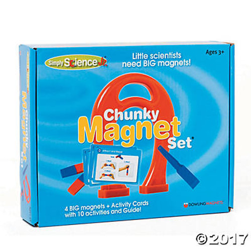For our youngest magnet scientists! Oversized pieces are easy to grasp! Magnets are completely encased in plastic-no small parts. Includes the most basic types of magnets: Giant Horseshoe Magnet, Magnetic Wand, 2 red/blue plastic encased bar magnets, and activity cards featuring magnet facts and 10 photo-illustrated activities (easy for non-readers to follow).