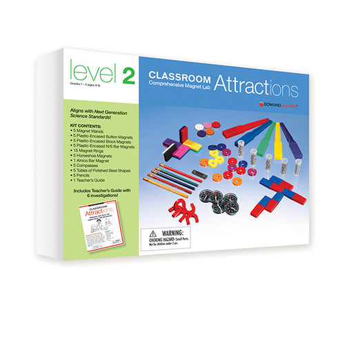 Supplement your science curriculum with comprehensive magnet kits aligned with the Next Generation Science Standards! Investigate motion and stability, matter and its interactions and more. This kit is designed for groups of 5-10 students. Ages 6-9/Grades 1-3