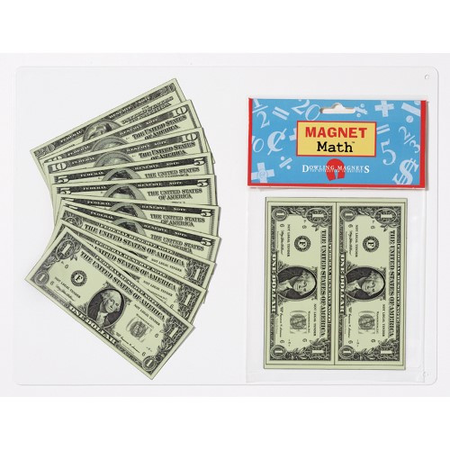"Flexible magnetic money teaches bill recognition, comparing values, making change, and more. Proportionally-sized and single-sided (front bill designs). Includes 12 bills: 5 ones, 4 fives, 2 tens, and 1 twenty). Each bill measures 4.56""L x 1.94""W."
