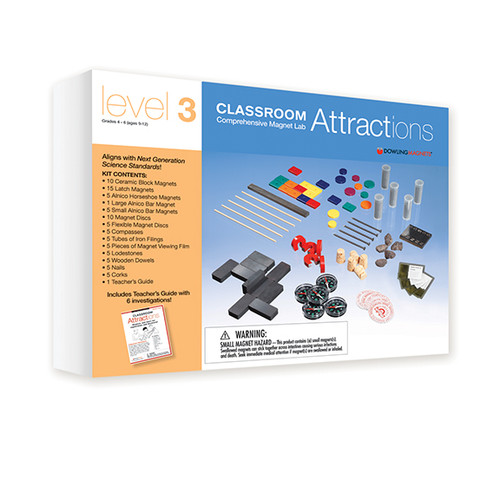 This exciting magnet kit provides you with the materials you need to implement or supplement a study of magnets in your classroom. The easy-to-use educational guide is filled with suggestions for hands-on activities that will help you introduce your students to the wonderful world of magnets. As students experiment with the materials and see how magnets work, they will discover what objects magnets attract, learn key terms, and see the influence of magnetic fields.