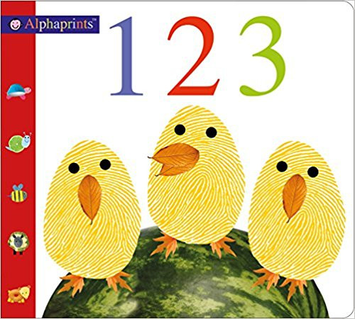 Rhyming text counts groups of one to ten animals, which are illustrated with finger and thumb prints, and relates their activities.