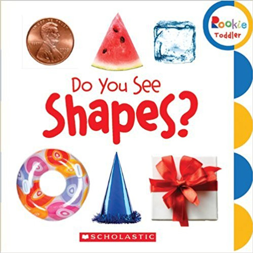 Identifies basic shapes, including a circle, square, and triangle, and displays everyday objects representing each shape. On board pages.